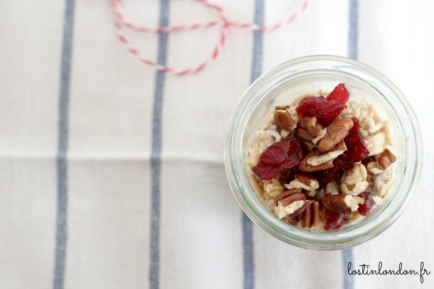 porridge noix fruits secs