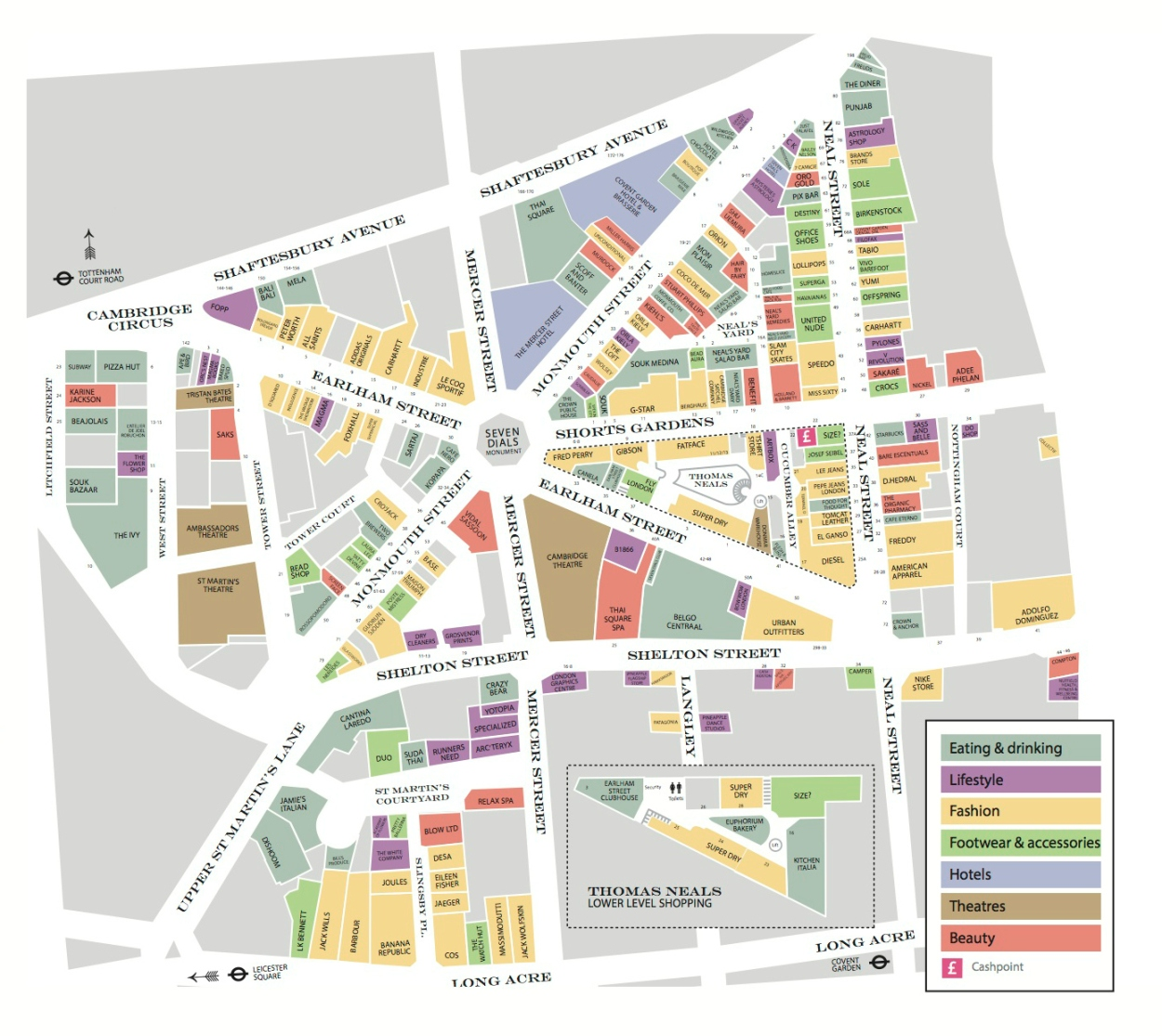 Seven Dials map