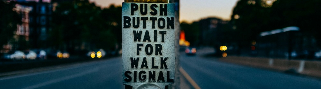 push the button for crossing